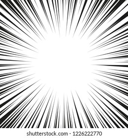 Graphic Explosion with Speed Lines. Comic Book Design Element. Vector Illustration