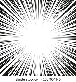 Graphic Explosion with Speed Lines. Comic Book Design Element. Retro comic style background with sun rays. Vector Illustration.
