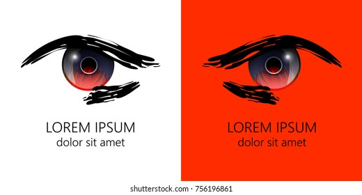 Graphic eye of man with fire inside on white and red background