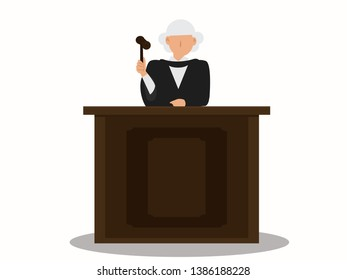 graphic faceless judge in law courts with hammer