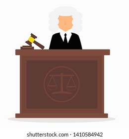 Graphic faceless judge in law courts, Judge concept in a wig.