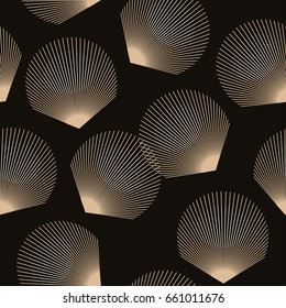 graphic feathers floating seamless pattern in gold and black