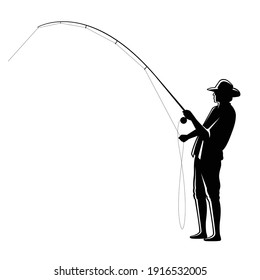 graphic fisherman on white background, vector