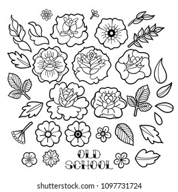 Graphic floral collection isolated on white background. Vector old school tattoo design. Traditional style. Coloring book page for adults and kids