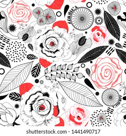 Graphic floral pattern of roses and leaves on a white background. Template for the design of business cards, postcards or covers.