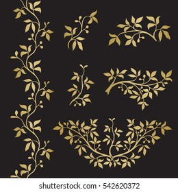 Graphic flower silhouettes and border in gold color on black background