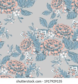 Graphic flowers for printed and design.Monochrome ornaments. Seamless pattern on gray background for decor. Vector illustration.