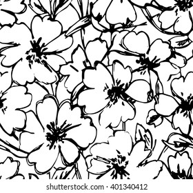 Graphic flowers seamless pattern.  Vector