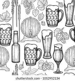 Graphic glasses of beer, bottles, barrels, hops and malts. Vintage vector oktoberfest seamless pattern drawn in engraving technique. Coloring book page