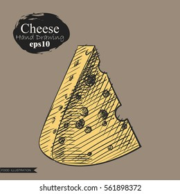 Graphic hand drawn cheese isolated on beige background. Cheese elements sketch vector illustrator. Retro style