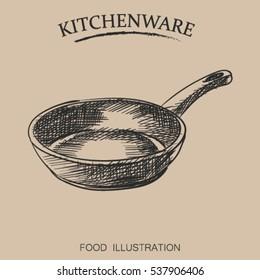 Graphic hand drawn pan. Kitchenware sketch vector illustrator. Retro style