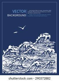 Graphic Hand Drawn Seascape with White Contour Waves and Seagulls. Vector Illustration.