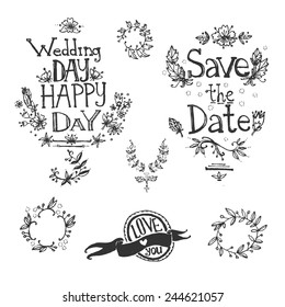 graphic hand drawn set: letters, hearts, sun, wings, ribbons