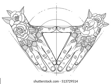 Graphic hands folded in the shape of triangle. Sacred geometry. Tattoo art. Coloring book page design for adults and kids