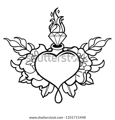 Graphic Heart Flaming Gem Floral Decorations Stock Vector Royalty