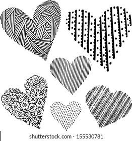 Graphic hearts set (black&white). Hand drawn illustration.