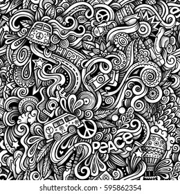 Graphic Hippie hand drawn artistic doodles seamless pattern. Monochrome, detailed, with lots of objects vector trace background