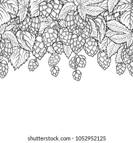 Graphic hop design. Vintage vector seamless border drawn in engraving technique. Coloring book page