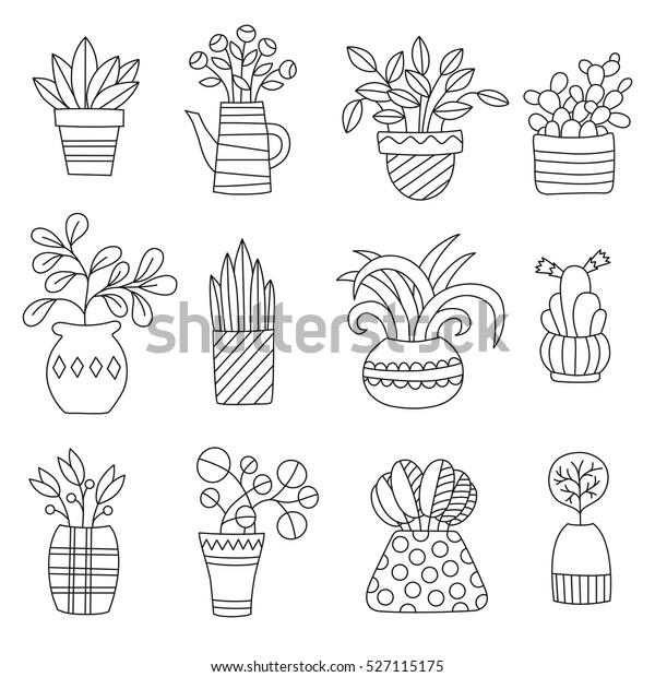 Image Vectorielle De Stock De Dessins De Plantes De Maison