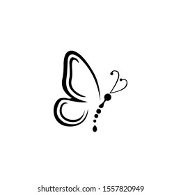 Graphic icon of butterfly, Butterfly tattoo isolated on white background,