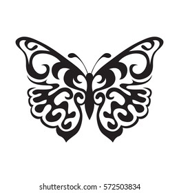 6deab9653 Graphic icon of butterfly. Butterfly tattoo isolated on white background.  Vector