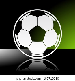 Graphic icon of football soccer ball with reflection. Illustrator 10 EPS with blends and opacity mask