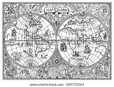 Graphic Illustration Ancient Atlas Map World Stock Vector Royalty
