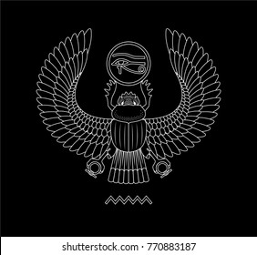 Graphic illustration of ancient egypt scarab pattern. Black background.