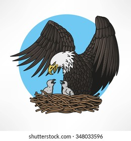 Graphic illustration of bald eagle witn chicks in the nest
