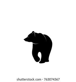 Graphic illustration of bear silhouette. Stencil.