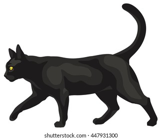 graphic illustration of a black cat walking