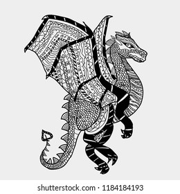 Graphic illustration of a black magic dragon. Postcard. Children book. Coloring page. Linear style