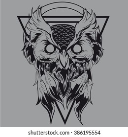 Graphic illustration of a black owl