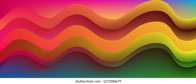 Graphic Illustration With Bright Liquid and Colorful Fluid Shapes