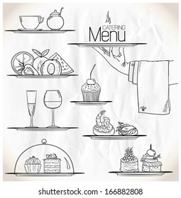 Graphic illustration with catering symbols on a paper. Eps10.
