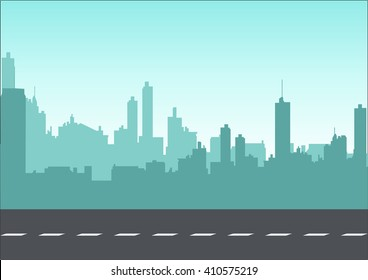 Graphic illustration of a cityscape