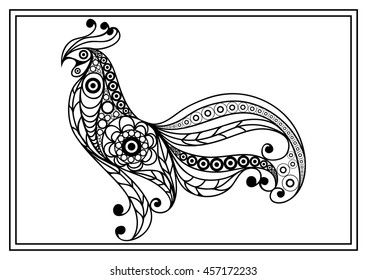 Graphic illustration of cock, symbol of 2017. Coloring book page. Suitable for invitation, flyer, sticker, poster, banner, card,label, cover, web. Vector element for New Year's design.
