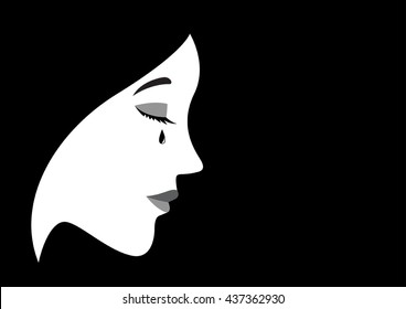 Graphic illustration of a crying woman