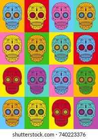 Graphic illustration of decorative Pop art sugar skulls. Day of the dead skulls.