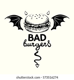 Graphic illustration of evil hamburger with bat wings, devil horns and tail and lettering in vector on white background