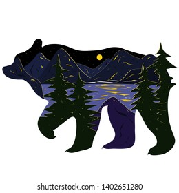 Graphic illustration in the form of a silhouette of a bear and nature inside. Night landscape of the moon lake, mountains and firs. Illustration for t-shirts, trenches or covers.