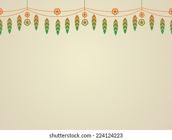 Graphic illustration of a garland of mango leaves and marigold flower. It is used as a decoration during festivals in india.