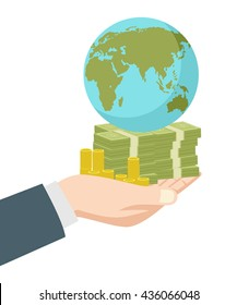 Graphic illustration of hand holding money and earth globe for capitalism concept.