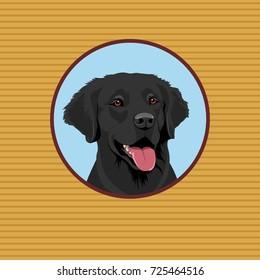 Graphic illustration of happy black Labrador Retriever