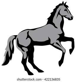 graphic illustration of a horse getting up on its hind legs