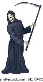 graphic illustration of the image of death. a stylized image of a skeleton figure in a cloak with a scythe