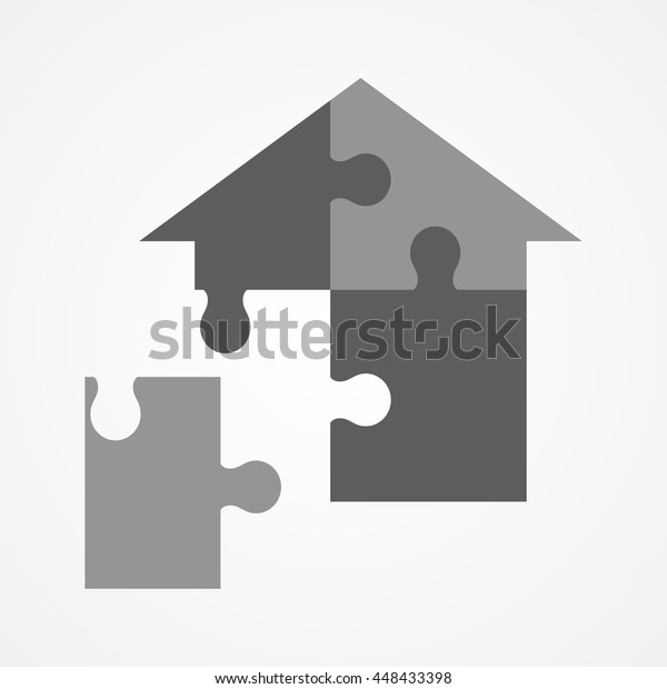 Graphic Illustration Jigsaw Puzzle Forming House Stock Vector
