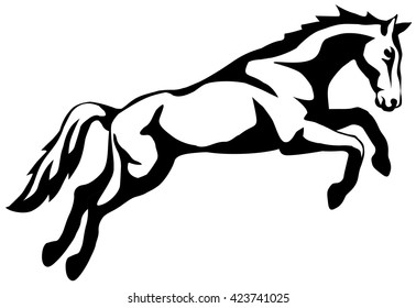 graphic illustration of a jumping horse