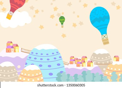 Graphic illustration for kids room wallpaper with house sky full of stars,stairs,hill,and air balloon. Can use for print on the wall, pillows, decoration kids interior, baby wear, t shirt, and card