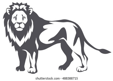 graphic illustration of a lion standing and looking at the viewer